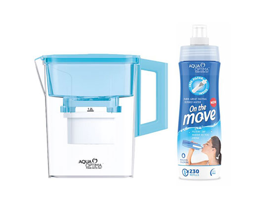 Aqua Optima Pack 2 Piece Plastic Blue Water Jug+Water Bottle With Filter #