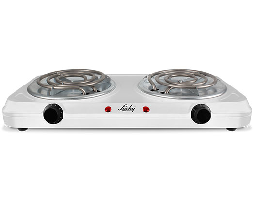 Lucky Hotplate Adjustable Temperature White Double Plate 2000W