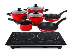 "Mellerware Pack 10 Piece Black Induction Cooker And Pot Set 3000W ""Capri"""