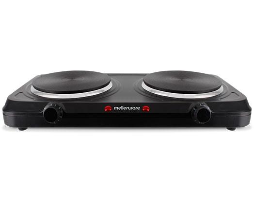 """Mellerware Hotplate Solid Plate Double Steel Black 5 Heat Settings 2000W """"Helios"""""""