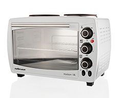 "Mellerware Mini Oven With 2 Hotplates Stainless Steel White 18l 2400W ""Horizon 18"""