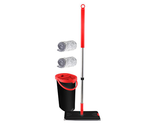 """Mellerware Mop With Bucket Including 2 Microfibre Heads Plastic Red 5L """"Extreme Clean"""""""