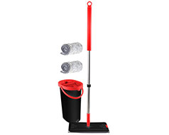 "Mellerware Mop With Bucket Including 2 Microfibre Heads Plastic Red 5L ""Extreme Clean"""