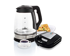"Mellerware Pack 2 Piece Black Kettle And Sandwich Maker ""Deluxe"""