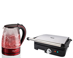 Mellerware Pack 2 Piece Set Red Kettle And Panini Press