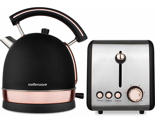 """Mellerware Pack 2 Piece Set Stainless Steel Black Kettle And Toaster """"Rose Gold"""""""