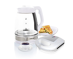 "Mellerware Pack 2 Piece White Kettle And Sandwich Maker ""Deluxe"""