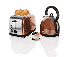 "Mellerware Pack Cordless Kettle With Toaster Stainless Steel 1.8L 2000/900W ""Copper"""