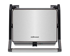 "Mellerware Panini Press 4 Slice Stainless Steel Black 2200W ""Grande Press"""