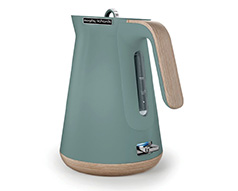 "Morphy Richards Kettle 360 Degree Cordless Stainless Steel Teal 1.5L 2200W ""Aspect Wood Trim"""