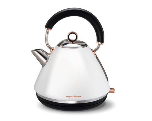"""Morphy Richards Kettle 360 Degree Cordless Stainless Steel White 1.5L 2200W """"Accent Rose Gold"""""""