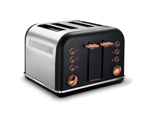 "Morphy Richards Toaster 4 Slice Stainless Steel Black 1800W ""Accents Rose Gold"""