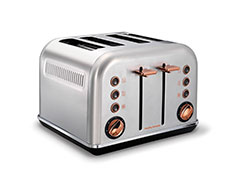 "Morphy Richards Toaster 4 Slice Stainless Steel Brushed 1800W ""Accents Rose Gold"""