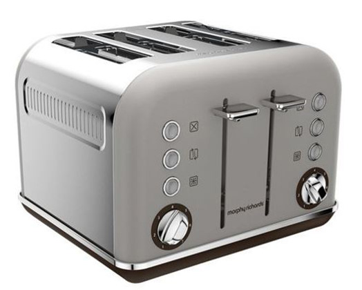 "Morphy Richards Toaster 4 Slice Stainless Steel Pebble 1800W ""Accents"""