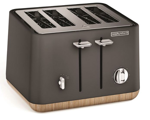 "Morphy Richards Toaster 4 Slice Stainless Steel Titanium 1800W ""Aspect Wood Trim"""