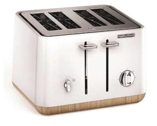 """Morphy Richards Toaster 4 Slice Stainless Steel White 1800W """"Aspect Wood Trim"""""""