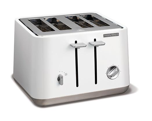 White Stainless Steel Aspect 4 Slice Toaster