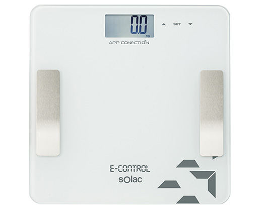 "Solac Bathroom Scale Auto Off Switch LED Display Glass White ""E Control"""