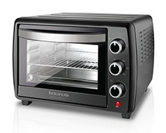 "Taurus Mini Oven With Double Glass Door Adjustable Temperature Steel Black 22L 1500W ""Horizon"""