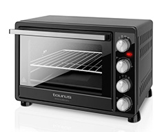 "Taurus Mini Oven With Double Glass Door Adjustable Temperature Steel Black 30L 1500W ""Horizon"""