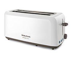 "Taurus Toaster 4 Slice Plastic White 6 Heat Settings 1450W ""My Toast Duplo"""