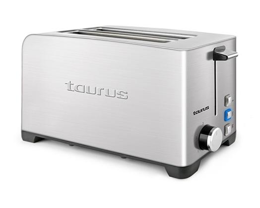 "Taurus Toaster 4 Slice Stainless Steel Brushed 5 Heat Settings 1400W ""My Toast Duplo Legend"""