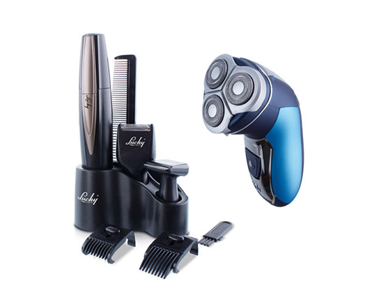 Lucky Pack 2 Piece Trimmer Set + 3 Head Rechargeable Shaver