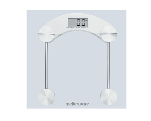 "Mellerware Bathroom Scale Auto Off Glass 150kg 3V ""Munich"""