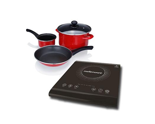 "Mellerware Induction Cooker LED Display Crystal Black Variable Heat Settings 2000W ""Capri"""
