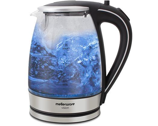 "Mellerware Kettle 360 Degree Cordless Glass Silver 1.8L 2200W ""Azure"""