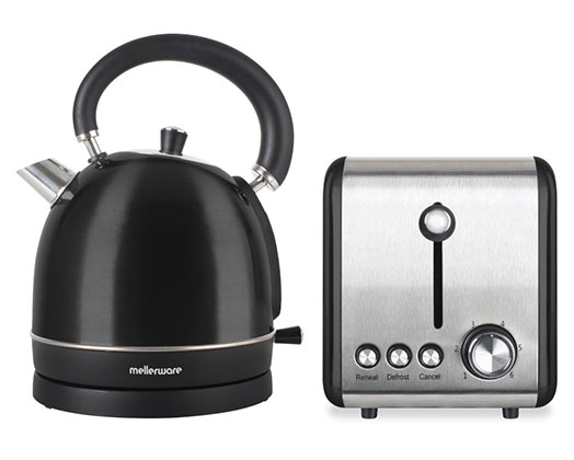 """Mellerware Pack 2 Piece Set Stainless Steel Black Kettle And Toaster """"Eclipse"""""""