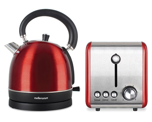 "Mellerware Pack 2 Piece Set Stainless Steel Red Kettle And Toaster ""Crimson"""