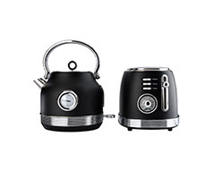 "Taurus Pack 2 Piece Set Stainless Steel Black Kettle & Toaster ""Retro"""