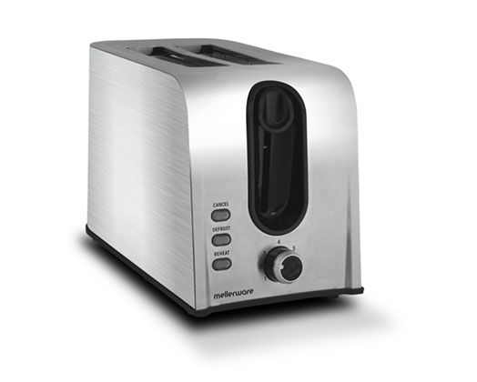 Mellerware Toaster 2 Slice Stainless Steel Brushed 6Heat Settings 700W