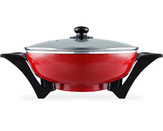 "Mellerware Wok Adjustable Temperature Diecast Aluminium Red 33X9cm 1500W ""Bangkok Wok"""