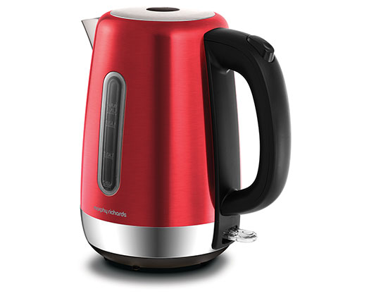 """Morphy Richards Kettle 360 Degree Cordless Stainless Steel Red 1.7L 3000W """"Equip"""""""