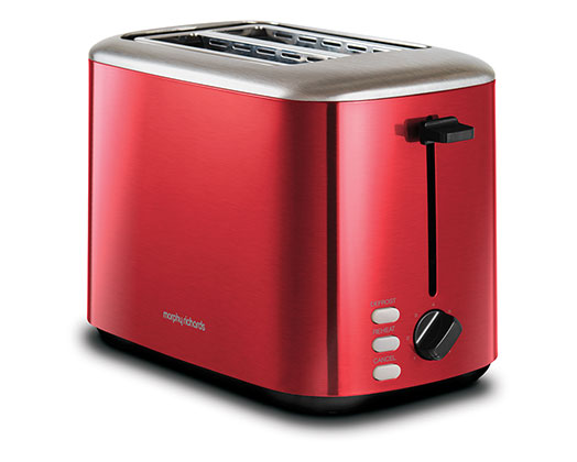 """Morphy Richards Toaster 2 Slice Stainless Steel Red 800W """"Equip"""""""