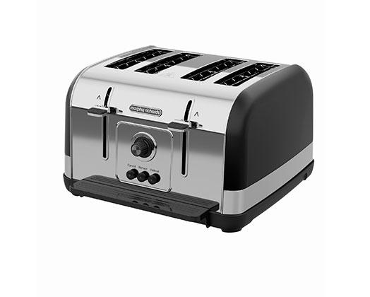 "Morphy Richards Toaster 4 Slice Stainless Steel Black 1800W ""Venture"""