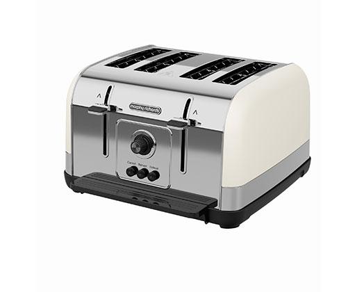 "Morphy Richards Toaster 4 Slice Stainless Steel Cream 1800W ""Venture"""