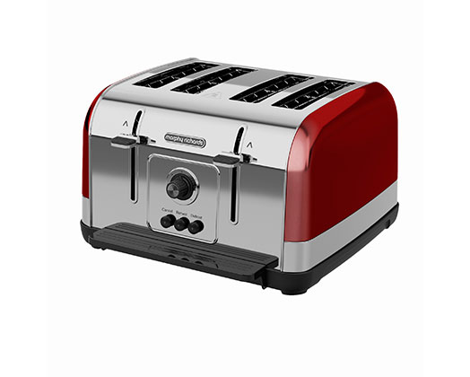 """Morphy Richards Toaster 4 Slice Stainless Steel Red 1800W """"Venture"""""""