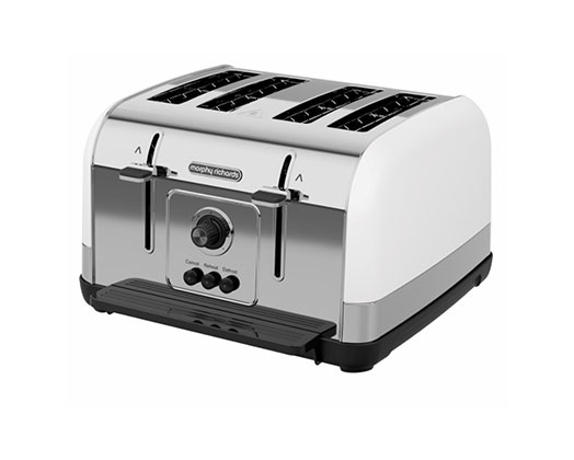 """Morphy Richards Toaster 4 Slice Stainless Steel White 1800W """"Venture"""""""