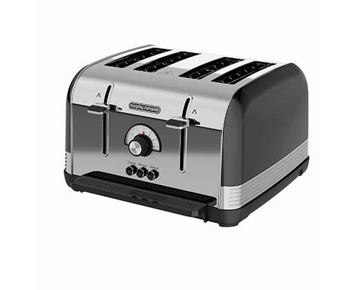 "Morphy Richards Toaster 4 Slice Stainless Steel Black 1800W ""Venture Retro"""