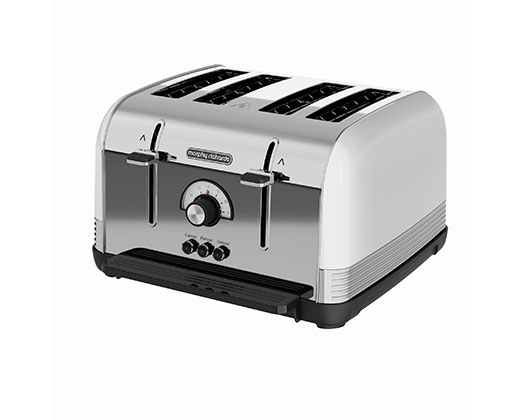 "Morphy Richards Toaster 4 Slice Stainless Steel White 1800W ""Venture Retro"""