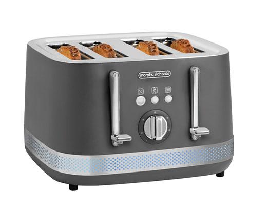 """Morphy Richards Toaster 4 Slice Stainless Steel Titanium 7Heat Settings 1500W """"Illumination"""""""