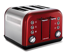 4 Slice 1800W Metallic Red Accents Toaster