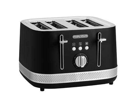 """Morphy Richards Toaster 4 Slice Stainless Steel Black 1500W """"Illumination"""""""