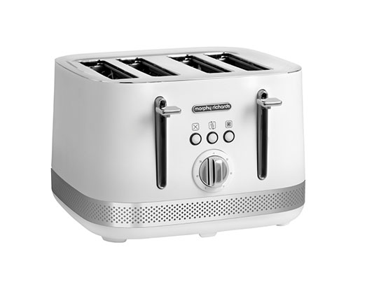"Morphy Richards Toaster 4 Slice Stainless Steel White 1500W ""Illumination"""