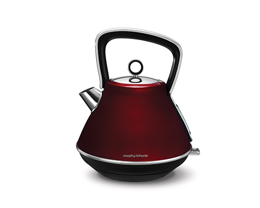 "Morphy Richards Kettle 360 Degree Cordless Stainless Steel Red 1.5L 2200W ""Evoke"""
