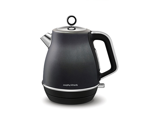 "Morphy Richards Kettle 360 Degree Cordless Stainless Steel Black 1.5L 3000W ""Evoke"""