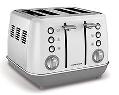 "Morphy Richards Toaster 4 Slice Stainless Steel White 1800W ""Evoke"""